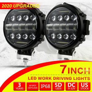 2x 7 Inch 200w Round Off Road Drl Led Work Bumper Lights For Jeep Truck Boat 4wd