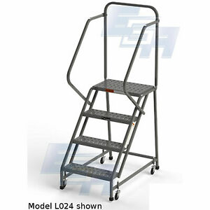 Ega L006 Industrial Rolling Ladder 4 step 20 Wide Perforated Gray 450lb