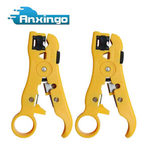 2pcs Universal Cable Wire Stripper Cutter Flat Round Cat5 Cat6 Wire Coax Coaxial