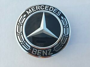 Set Of 4 Mercedes Benz Center Caps Glosy Black Sil 3 Inch 75mm Fits Most Models