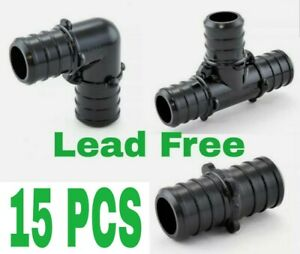 15 1 2 Pex Poly Alloy Crimp Tees Elbows Coupling Fittings Lead free