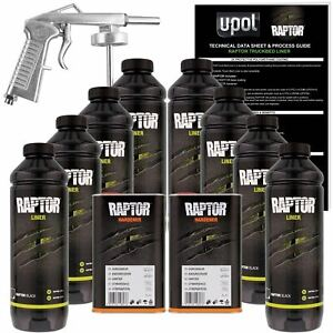 U Pol Raptor Black Urethane Spray On Truck Bed Liner Kit W Free Spray Gun 8l