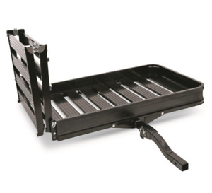Hitch Cargo Carrier With 3 Position Ramp Folding Aluminum Haul Tools Mowers