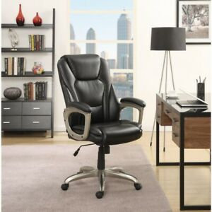 Serta Big Tall Bonded Leather Commercial Office Chair With Memory Foam Black
