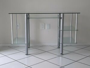Modern Glass Brushed Steel Desk