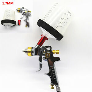 Hvlp Spray Gun Auto Feed Paint Tool 1 7mm Nozzle Jet W Adaptor Scaled Reservoir