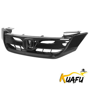 For 2013 2015 Honda Accord 4dr Sedan Gloss Black Front Hood Mesh Bumper Grille