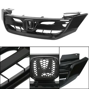 For 2013 2015 Honda Accord 4dr sedan Gloss Black Front Hood Mesh Grille Grill