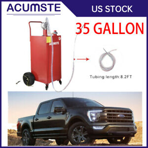 35 Gallon Gas Oil Fuel Diesel Caddy Transfer Portable Tank W Pump Container Red