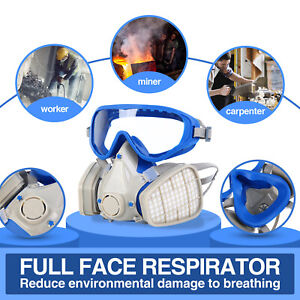 Respirator Facepiece Double Filter Air Breathing Chemical Full Face Gas Mask