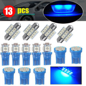 13x Blue Car Led Lights Interior Package Kit For Dome License Plate Lamp Bulbs