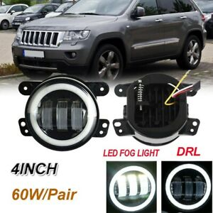 4 Inch Round Led Fog Light Drl Angel Eye Halo For 2011 2013 Jeep Grand Cherokee