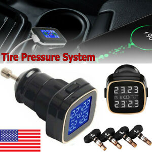 Wireless Car Tpms Tire Tyre Pressure Monitor System 4 Sensor Cigarette Lighter A