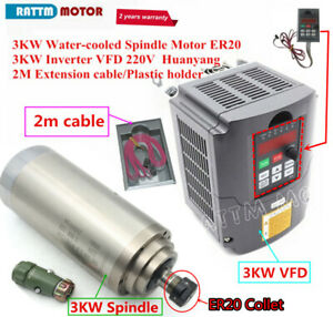 3kw Cnc Spindle Water Cooling Milling Cnc Router Spindle Motor 24000rpm 3kw Vfd