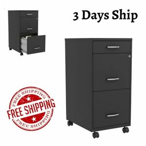 3 Drawer File Cabinet With Lock Mobile Rolling Home Office Organizer Steel 18