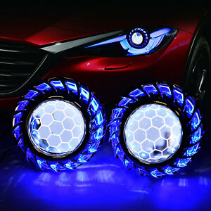 2 5 H1 Honeycomb Hid Bixenon Projector Lens Ccfl Angel Eyes Headlight Retrofit