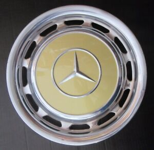 Vintage Mercedes Benz Oem 15 Inch Wheel Cover Hub Cap Beige Chrome Polish 2