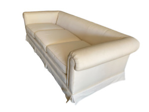 Gorgeous Ivory Tuxedo Back Custom Sofa Even Arm Couch Vintage Chic 1 Of 2