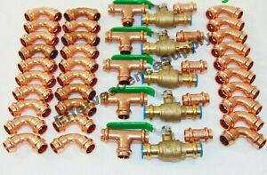 lot Of 45 1 2 Propress Copper Fittings tees Elbows Coupling Press Ball Valv