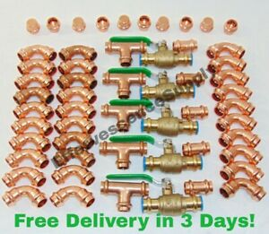 lot Of 55 1 2 Propress Copper Fittings tees Elbows Coupling Ball Valve Cap