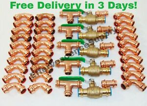 lot Of 45 3 4 Propress Copper Fittings tees Elbows Coupling Ball Valves