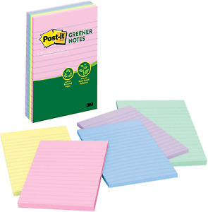 Post it Greener Notes Helsinki Collections Lined Pastel Colors 4 X 6 5 Pad