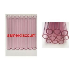 4 Long 10 Piece 12 Mm Pyrex Glass Blowing Tubes 2 Mm Wall Smooth End Pink
