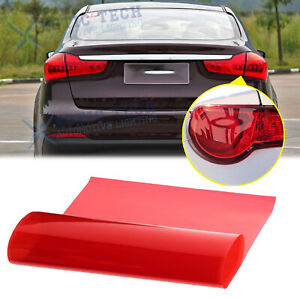 Red Color Tint Vinyl Protector Film Overlay Wrap Sheet For Tail Brake Light Lamp