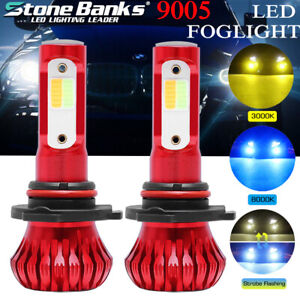 Led Headlight Fog Lamp 9005 9145 9140 3 Mode 3000k Yellow 8000k Blue Flicker