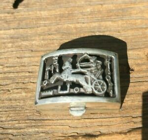 Vintage Sterling Silver Roman Chariot Horse Riding Pill Trinket Jewelry Box 18g