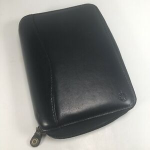 Franklin Covey Pocket Size Black Leather Planner Zipper Organizer