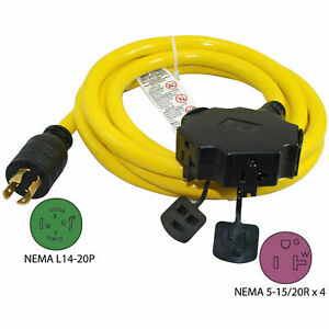 10 ft 20 amp Generator Power extension Cord With Nema L14 20p To 5 15 20r 4