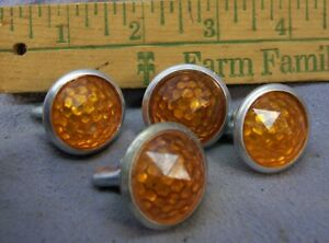 4 Vintage Amber Faceted Reflectors License Plate Topper Auto Bicycle Motorcycle