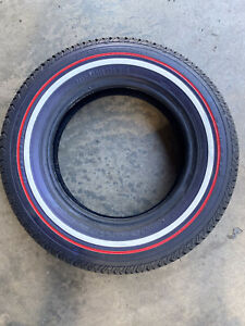 155 80 13 Lowrider White Red Wall Complete Set Of 4 Tires