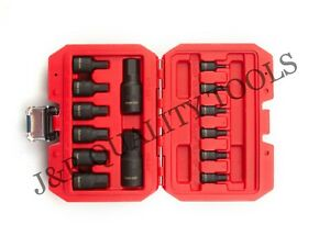 Impact Socket Hex Bits 14pc Sae Standard Set Air Allen Driver Auto Tool