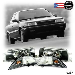 Fits 88 92 For Toyota Corolla Ae92 93 94 Black Headlights Corner Lamps E90 Ee90
