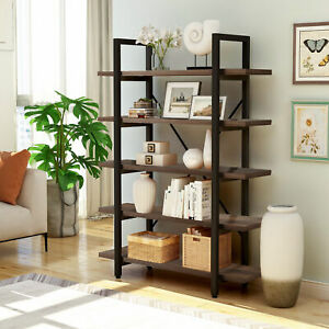 5 tier Open Bookcase Wood Bookshelf Storage Shelf Metal Frame For Living Room Bs