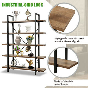 5 Tier Spacious Durable Wood Bookshelf Storage Shelves Unit Home Office Bookcase