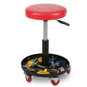 Adjustable Mechanics Rolling Creeper Seat Stool Pneumatic Chair Tray Shop Garage