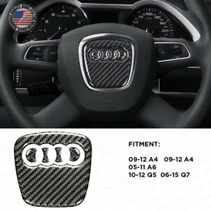 For Audi A4 A5 Q5 Q7 3d Carbon Fiber Steering Wheel Horn Logo Badge Emblem Sport