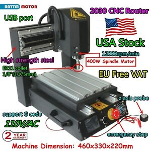 us 3axis 2030 110v Desktop Cnc Router Engrave Cutting Mill Machine 400w Spindle