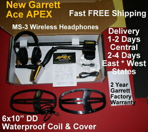 Garrett Ace Apex New Metal Detector Ms 3 Headphone Fast Free Shipping