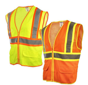 Reflective Safety Work Vest High Visibility Pockets Construction Traffic S 4xl