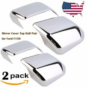 2 Pairs Car Chrome Plated Mirror Protective Cover Top Half Pair For Ford F150 Be