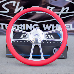 14 Billet Steering Wheel Red Wrap And Horn Button For Chevy Gm Ford Dodge