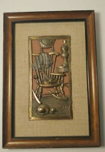 Vintage Brass Raised Scene With Cat Framed Picture Japan