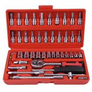 46pcs Socket Ratchet Wrench Set 1 4 Drive Flexiable Car Repairing Tools Kit