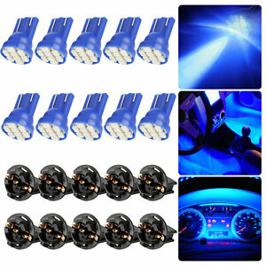10pcs Blue T10 168 194 Led Bulbs Instrument Gauge Cluster Dash Light W Sockets