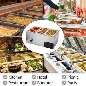 Restaurant 3 Pan Commercial Bain Marie Food Warmer Electric Steam Table 6 9qt
