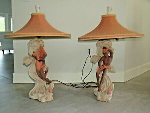 Mid Century Modern Pair Reglor Of California Chalkware Table Lamps Mcm Sea Lady